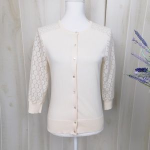 Ann Taylor Cream Lace Cardigan